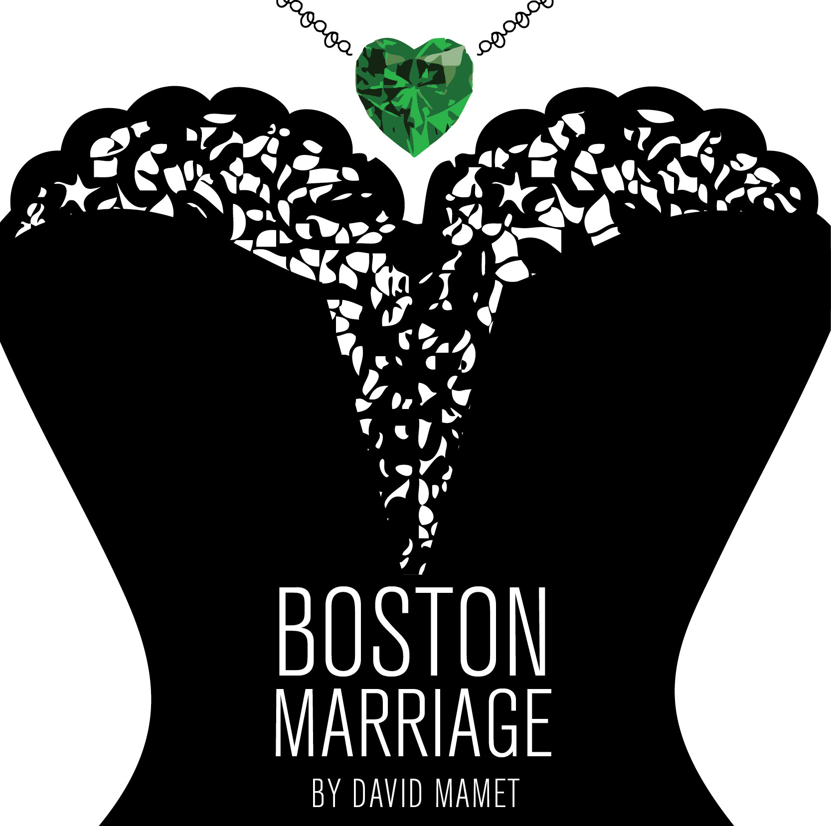 """""""Boston Marriage by David Mamet"""" image is a graphic of a corset with a green jewelled necklace"""